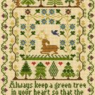 Moira Blackburn Traditional Sampler Cross Stitch Sampler Kit Green Tree Bothy