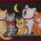 RARE GAYLE GLASS KITTY CATS MIDNIGHT FELINES CROSS STITCH KIT SLEEPY CATS