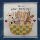 Rare Jeremiah Junction Bunny Basket Framed Count Your Blessings Cross Stitch Kit