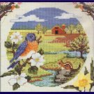 RARE SPRINGTIME COUNTRYSIDE BLUEBIRDS AND BLOSSOMS COUNTED CROSS STITCH KIT