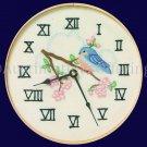 RARE  BLUEBIRD CHERRY BLOSSOM CREWEL EMBROIDERY CLOCK KIT