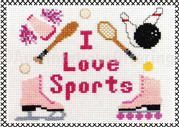 RARE BEGINNER KIDSTITCH I LOVE SPORTS CROSS STITCH KIT SKATING TENNIS BASEBALL CHEER