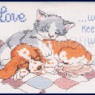 RARE POWELL LOVE WILL COUNTED CROSS STITCH PUPPY KITTY CUDDLES