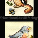 BUSY BEES CHIPMUNK AND BLUEBIRD CRITTER MINI ORNAMENT PAIR CROSSSTITCH KIT