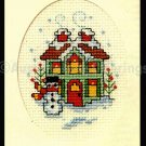 HOLIDAY DECORATED HOUSE SNOWMAN ORNAMENT CROSS STITCH KIT