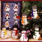 SNOWMEN FRIENDS FELT ORNAMENT SET OF SIX STITCHERY KIT SUITS BEGINNING STITCHERS
