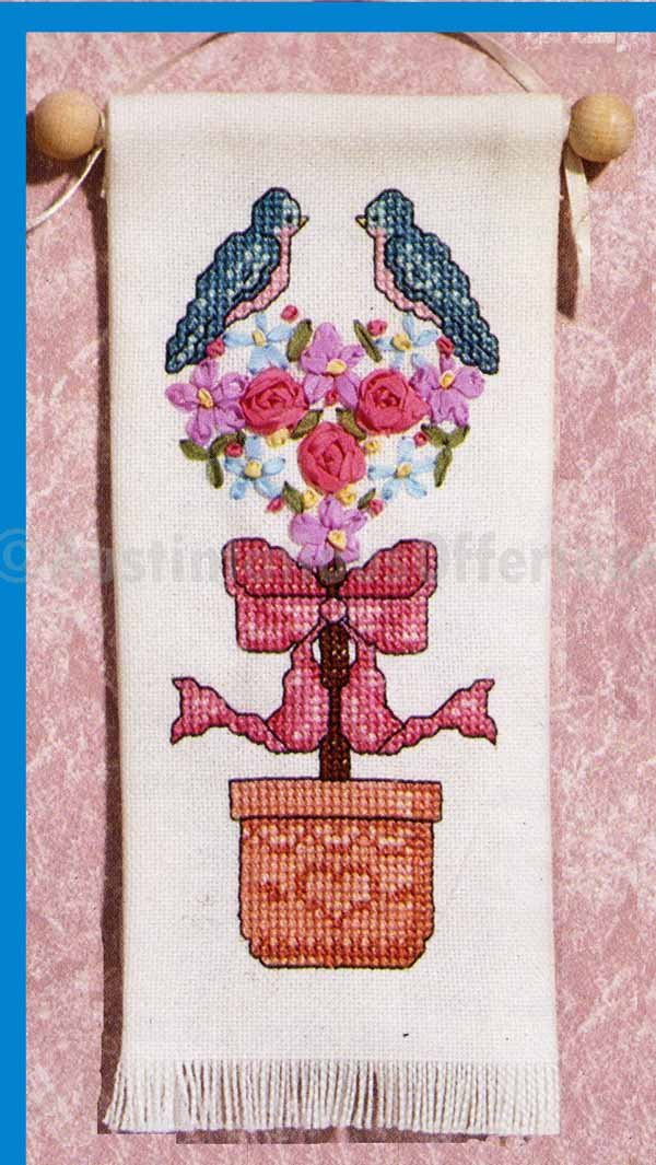 BIRDS IN TOPIARY BANNER SILK RIBBON EMBROIDERY KIT