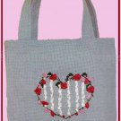 STRIPED HEART SMALL TOTE SILK RIBBON EMBROIDERY KIT SUITS BEGINNING STITCHERS