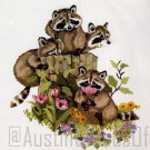 RARE RED FARM STUDIO ANIMAL PORTRAIT CREWEL KIT RACCOON BABIES