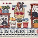 RARE COLEMAN COUNTRY FOLKART BUNNY HUTCHES HOME HEART CROSS STITCH KIT