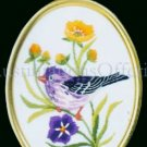 Rare Eleanor Engel Purple Finch Crewel Embroidery Kit Spring Songbird