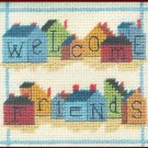 RARE WELCOME FRIENDS NEEDLEPOINT KIT SALTBOX HOUSE SHAPED BLOCKS