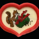 HOLIDAY CHIPMUNK ORNAMENT CROSS STITCH KIT WITH FRAME