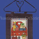 Country Cross Stitch Kit Amish Quilt Wire Heart Hanger