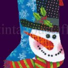 Janis Boehm Art Repro Christmas Snowman Fancy Tophat Needlepoint Stocking kit