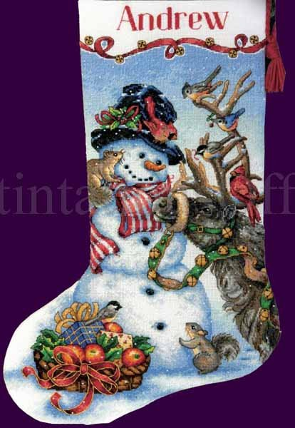 Donna Race Snowman Reindeer and Friends Gold Collection Counted Cross Stitch Christmas Stocking Kit