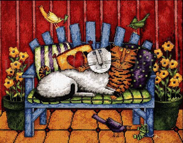 RARE DEBI HRON NEEDLEPOINT KIT  COLORFUL KITTY CATS ON THE PORCH LOVESEAT