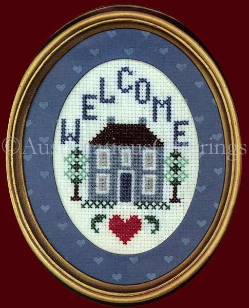 SALTBOX WELCOME COUNTED CROSS STITCH FRAMED MATTED KIT FOLKART HOME