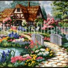 Barb Mock Thatched Country Cottage Needlepoint Kit Peaceful Garden Retreat