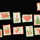 RARE  MINI CHRISTMAS QUILT CREWEL EMBROIDERY ORNAMENTS SET KIT