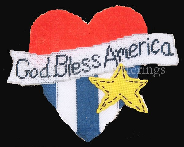 Rare Patriotic Plastic Canvas Needlepoint Kit God Bless America USA Flag Heart
