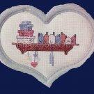 HEART HOLDER FOLKART COUNTRY SHELF CROSS STITCH KIT WITH FRAME