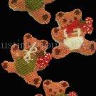 Rare Teddy Bear Ornaments Set Plastic Canvas Needlepoint Kit