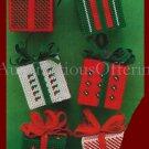 Rare Mini Gift Box Ornaments Set Plastic Canvas Needlepoint Kit