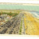 GREAT HIGHWAY BEACH  SAN FRANCISCO CA ROLLER COASTER California linen Postcard