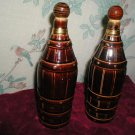 VINTAGE OIL VINEGAR SET ROYAL SEALY BARREL BOTTLE BROWN CHINA