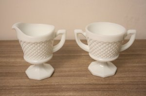 Milk Glass Westmoreland Sugar Bowl Creamer Set Vintage Chic