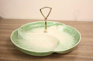 Vintage Royal Haeger Leaf Handle Serving Tray Art Pottery Snack Dish