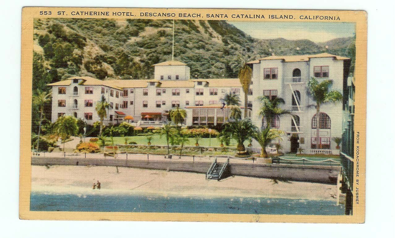 St Catherine Hotel Descanso Beach Santa Catalina Island CA California Postcard 1951
