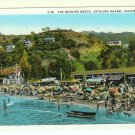 Bathing Beach Catalina Island CA California Avalon Bay Postcard 1931