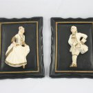 Vintage Victorian Couple Pair Chalkware Plaster Plaques Rogercraft French Shabby Chic