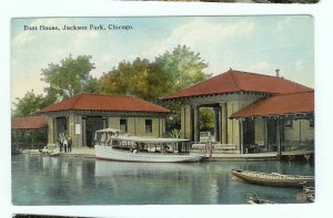 Jackson Park Chicago IL Illinios Boat House Postcard 1915 Tour boat