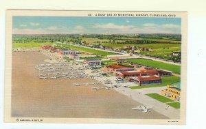 Municipal Airport Cleveland OH Ohio Linen Postcard