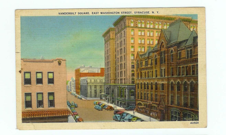 Vanderbilt Square East Washington Street Syracuse NY Postcard 1939
