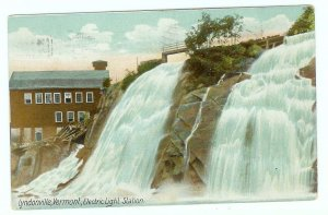 Lyndonville VT Vermont Postcard Electric Light Station 1923 Waterfall