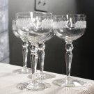 Glastonbury Lotus Wine champagne Glass Laurel Wreath Stem Cut Dotsl Set of 4 vintage Wedding Toast