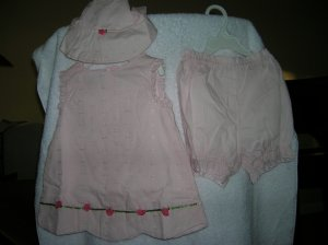 Pink 24 Months 3-piece Rosebud Dress Hat & Under Short