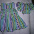 Parasailing Blue 6-9 Mo George Stripes & Flowers Sun Dress