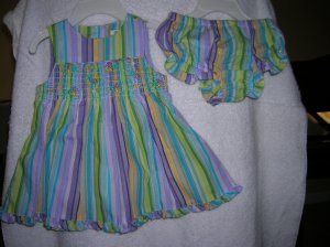 Parasailing Blue 6-9 Mo George Stripes & Flowers Sun Dress