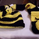 Bumble Bee Crocheted Hat and Scarf