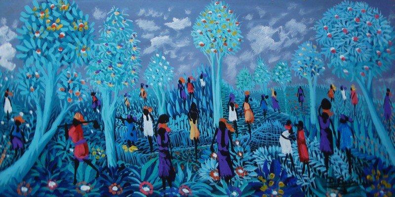 Haitian Painting Naive Folk Latin American Art Caribbean