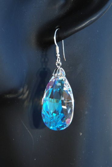 Designer fashion, bridal, prom crystal earrings jewelry, Swarovski Crystal Blue Shade - EAR 0002