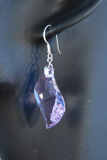 Designer fashion, bridal, prom crystal earrings jewelry, Swarovski Light Amethyst - EAR 0003