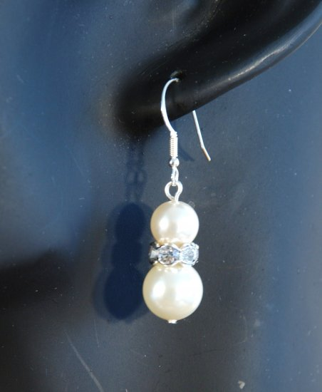 Designer crystal earrings jewelry, Swarovski Crystal Cream Pearls / Crystal / Silver - EAR 0012