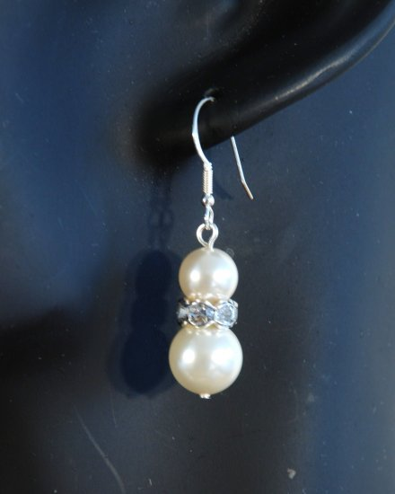 Designer crystal earrings jewelry, Swarovski Crystal Cream Pearls / Crystal / Silver - EAR 0013