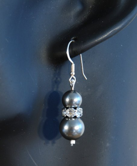 Designer bridal, crystal earrings jewelry, Swarovski Black Pearls / Crystal / Silver - EAR 0015
